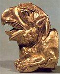 An eagle's head made of gold; treasures of Ziwiyeh