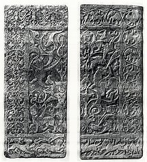 Ghazni, Rauza Antiquary, large decorative marble slab sculptured on both sides, 11th century
