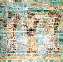 Procession of the Persian guards, the 'Immortals', from the Palace of Darius at Susa.