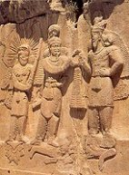 Rock relief at Taq-i-Bustan
