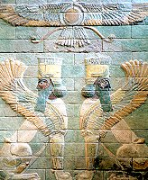 A Pair of winged human-headed lions beneath a winged disk, from the Palace of Darius at Susa.
