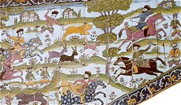 Tiles with a colourful hunting scene from the Pavilion of Karim Khan Zand